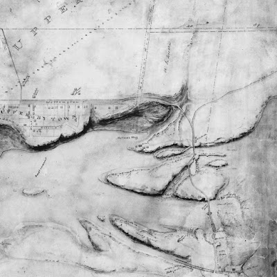 NMC14284: Same description as above, except the settlement on the Quebec side (Township of Hull) is in view, and throughout there is more shading to indicate the geography. The gorge under Pooley's Bridge is far more identifiable, as is the cliff on the river side of Upper By Town.