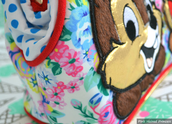 irregular choice disney chip n dale bag red suedette piped trim