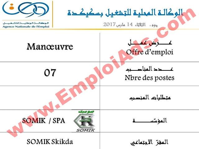 اعلان عرض عمل في مؤسسة SOMIK ولاية سكيكدة مارس 2017