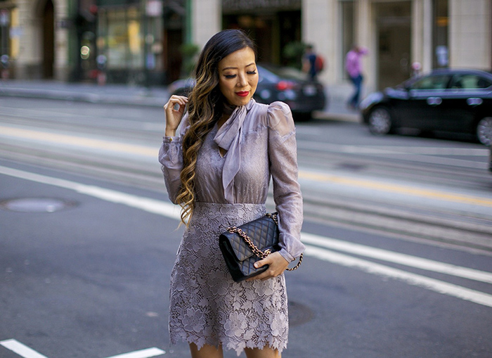 three floor lavish dress, kendra scott earrings, chanel classic flap bag, christian louboutin glitter pumps, lace dress, wedding guest outfit ideas, date night dress, san francisco style blog, san francisco street style