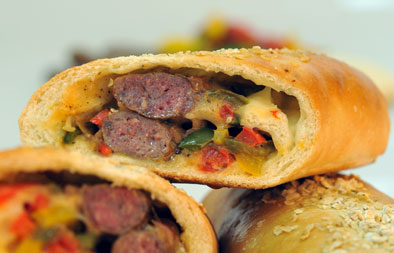 Stuffed Bread with Sausage and vegetables recipe