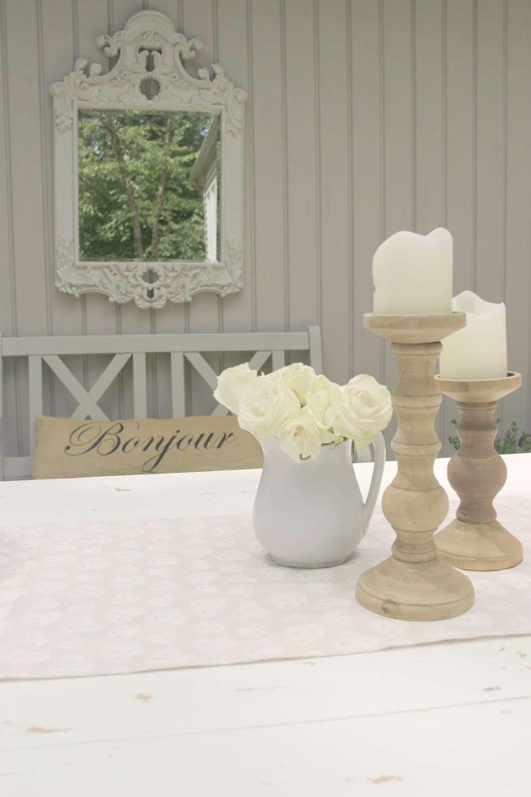 White farm table with blush pink runner - Hello Lovely Studio