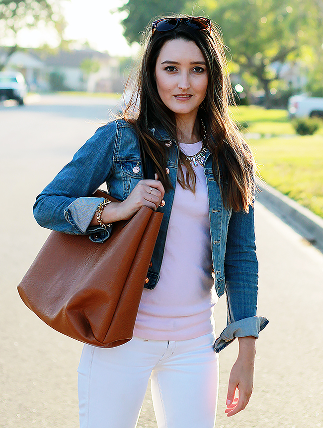 Denim Jacket and White Jeans A Good Hue