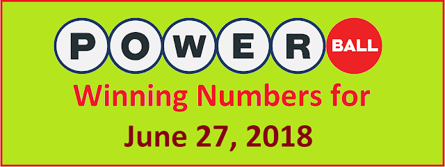 PowerBall Winning Numbers for Saturday, 27 June 2018