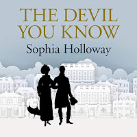 The Devil You Know audiobook cover. A silhouetted couple in elegant clothing stroll through an elegantly styled town, on a pale duck-egg blue background.