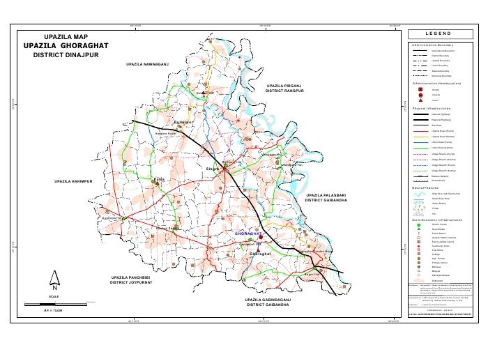 Ghoraghat Upazila Map Dinajpur District Bangladesh