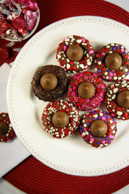 Chocolate Valentine Kiss Cookies with Sprinkles Image
