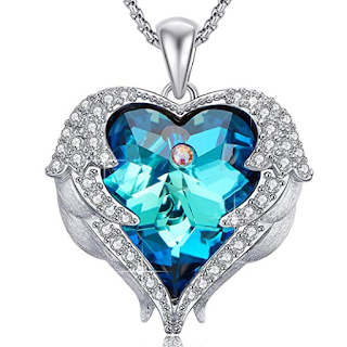 Caperci Angel Wings Sparkling Swarovski Crystal Heart Pendant Necklace
