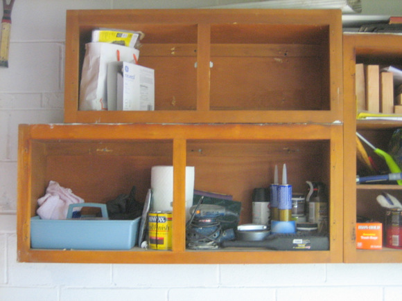 Looks bare, but it'll get there: Recycled Cabinet Doors | DIY Playbook