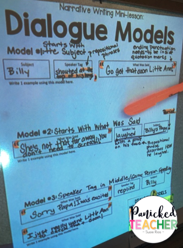 dialogue models, upper grade writing, dialogue lesson, 5th grade writing
