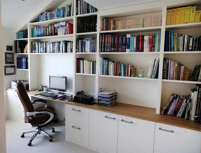 best custom home office furniture desks ST Louis MO with bookshelves ideas