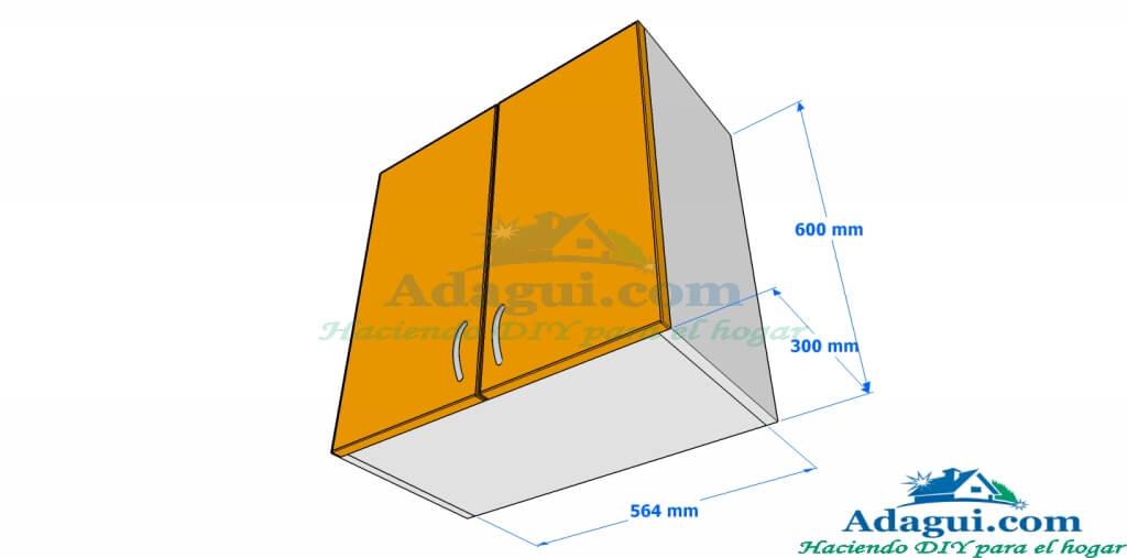Plano y dise o con medidas mueble alto de cocina melamina for Planos de cocina y lavadero