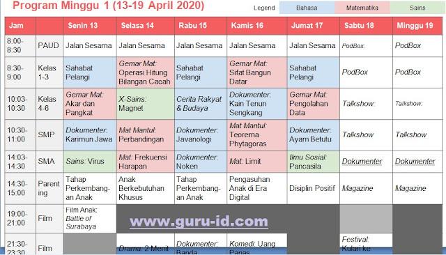 gambar jadwal pembelajaran minggu ke-1 di TVRI