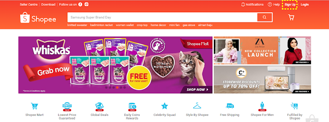 Sign-up as a Shopee seller via desktop
