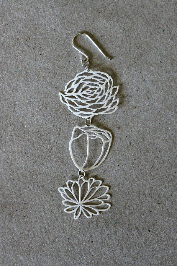 white floral paper cut earrings with silver findings