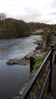 A view of the River Dee looking towards the bridge and rapids.