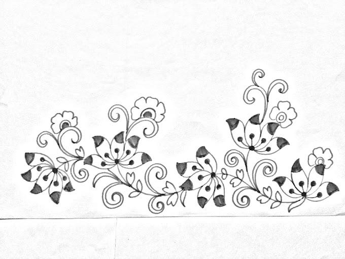 Saree border designs drawing ll hand embroidery designs for saree border