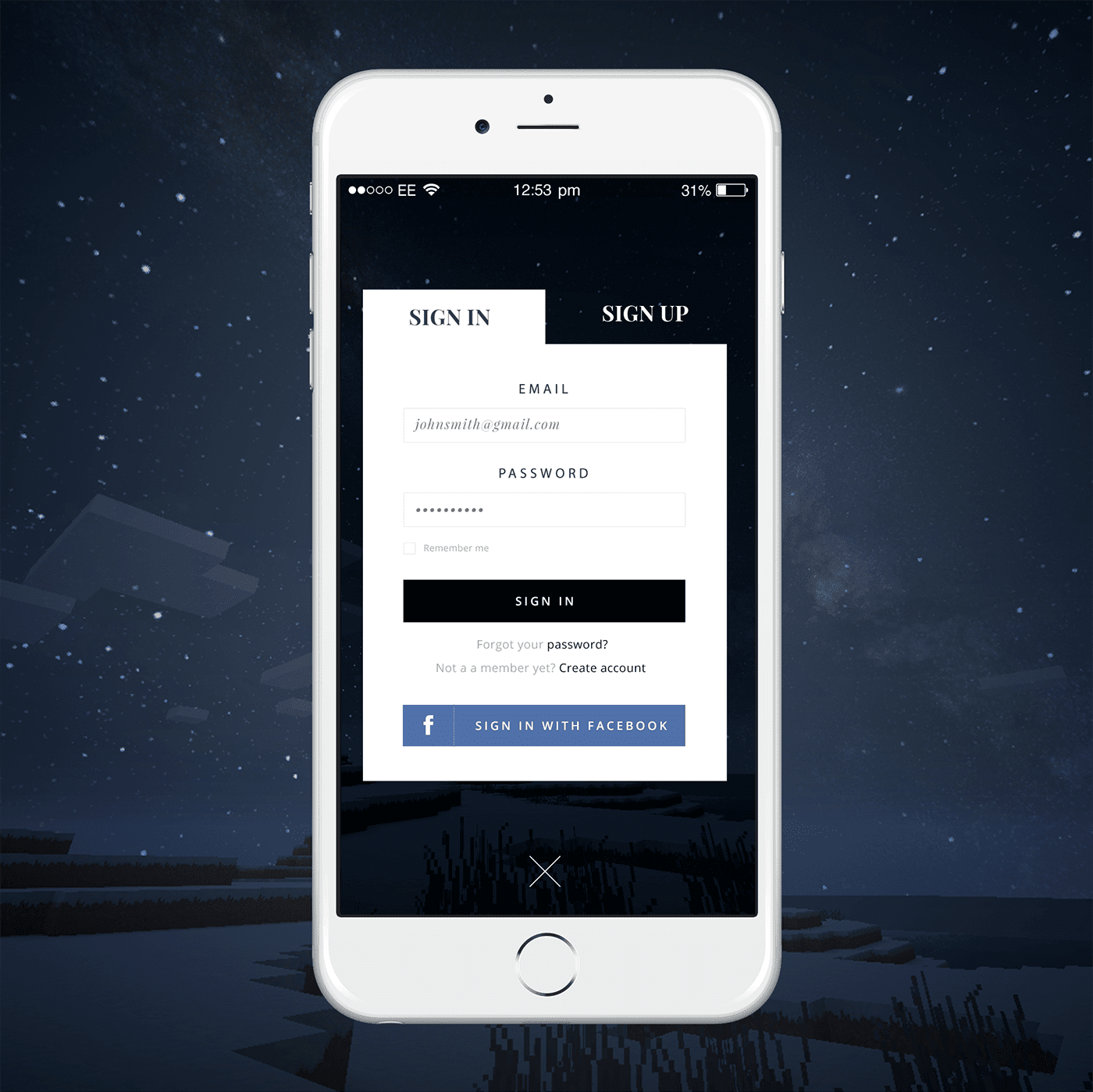 Night Background Creative Login Page Design Idea