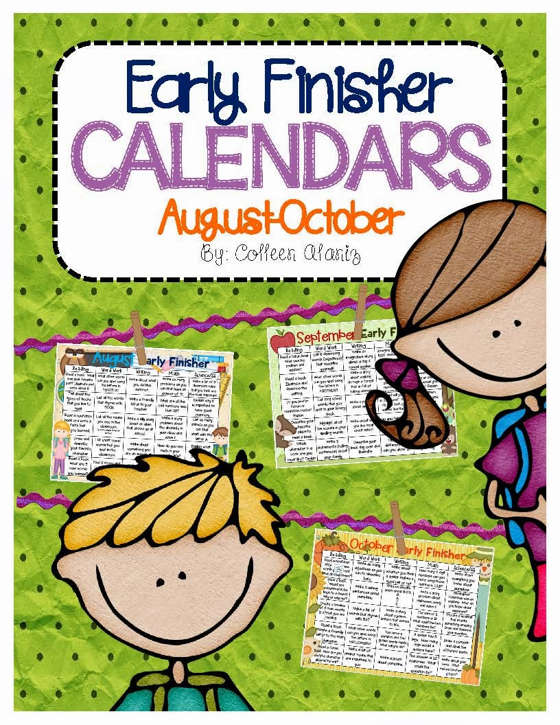 http://www.teacherspayteachers.com/Product/Early-Finisher-Calendars-Aug-Oct-1371865
