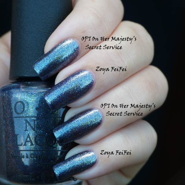 Lucy's Stash - comparison of OPI On Her Majesty's Secret  Service and Zoya FeiFei
