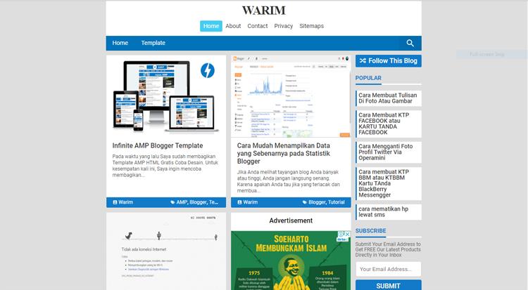 Website Mini AMP Blogger Template