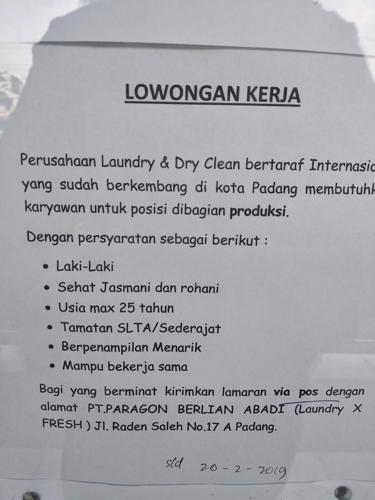 Lowongan Kerja Padang Karyawan Laundry Adsanjaya