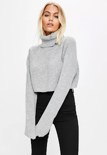 Missguided Grey Roll Neck Crop Knitted Jumper