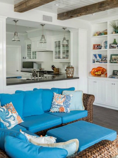 Wicker Sofa Coastal Living Room Idea