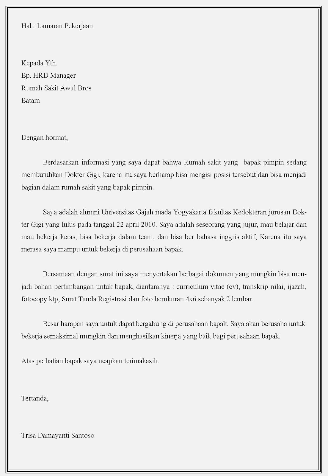 Contoh surat lamaran kerja dokter di awal Bros batam