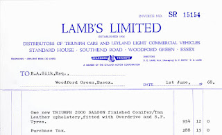 1968 invoice dated 1st June 1968 for a Triumph 2000 saloon