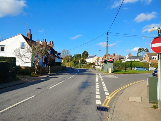 Photograph of Nash's Corner, junction of Bulls Lane and Station Road, Welham Green - October 2018  Image by the North Mymms History Project, released under Creative Commons