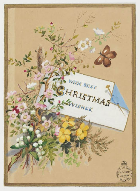 """Christmas Card design depicting Australian flowers and a butterfly with the words """"A Merry Christmas, A Happy New Year""""."""