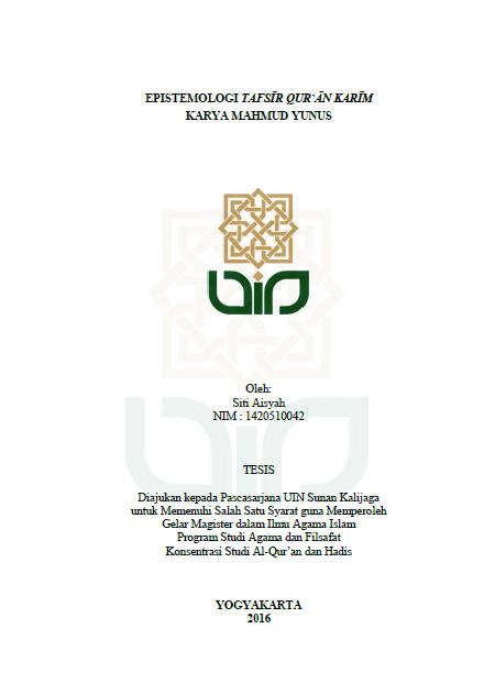 Download Epistemologi Tafsir Quran Karim Karya Mahmud Yunus