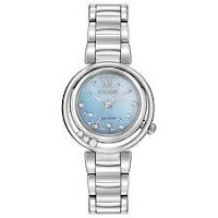 Citizen Eco-Drive Sunrise Women's EM0320-59D Diamonds Silver-Tone 30mm Watch