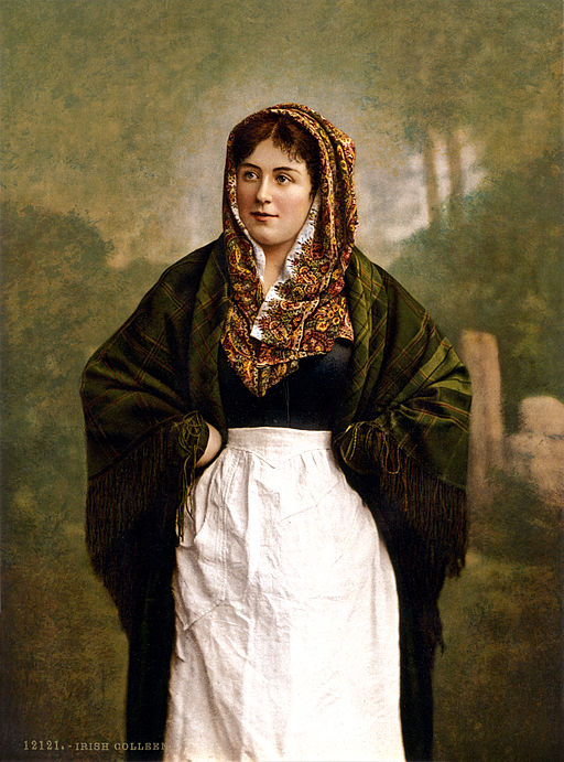 "Image of an Irish colleen in a shawl by Photoglob Zürich, reprinted by Detroit Publishing Co. [Public domain], <a href=""https://commons.wikimedia.org/wiki/File%3AIrish_colleen_with_green_plaid_shawl%2C_1890s.jpg"">via Wikimedia Commons</a>"