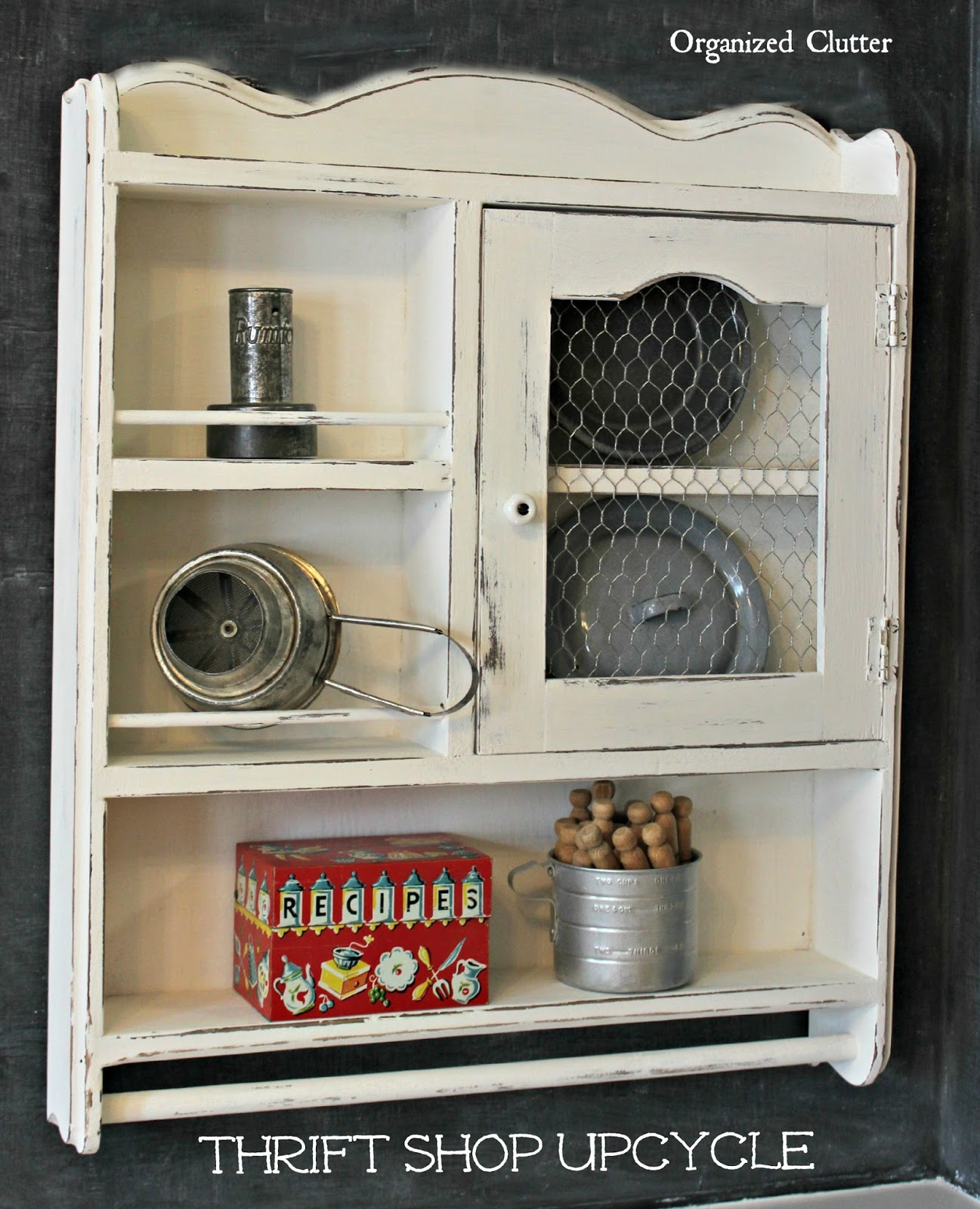 $5 Thrift Shop Shelf Updated with Paint & Chicken Wire www.organizedclutter.net