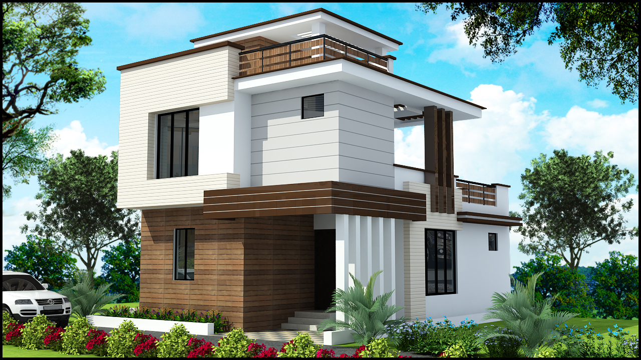 Sample Front Elevation For Small N Houses : Duplex elevation photos double story house front