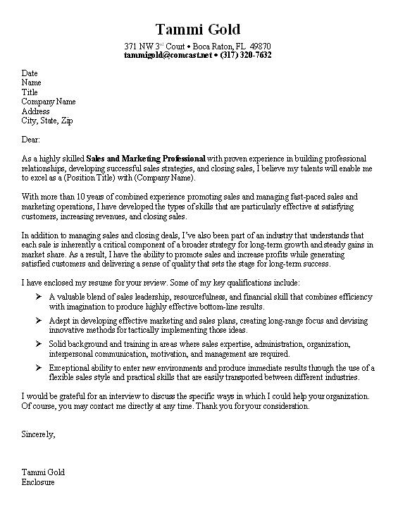 Example Professional Cover Letter – Sample Cover Letter Example for Sale