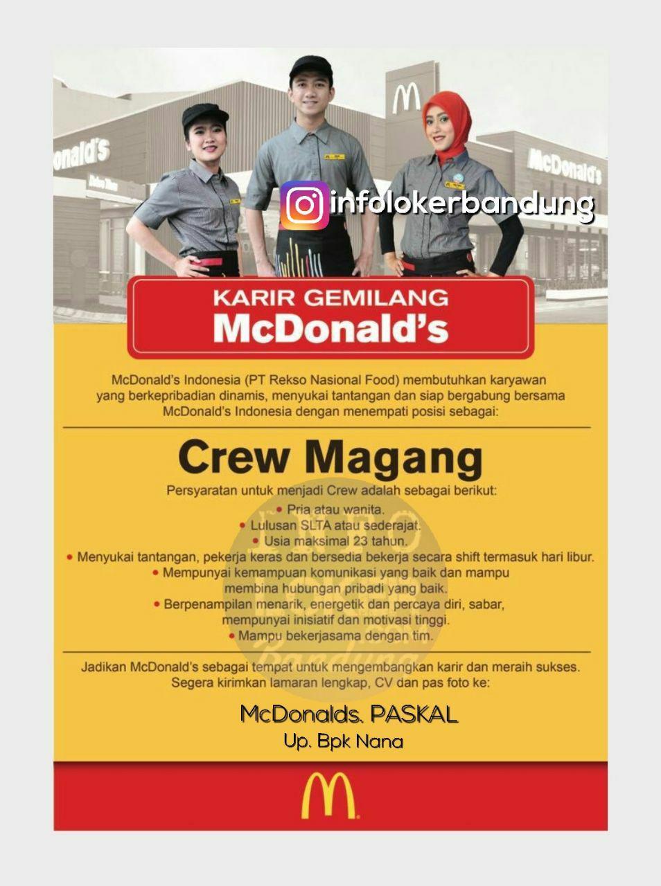 Lowongan Kerja McDonalds Pasir Kaliki Bandung Januari 2018