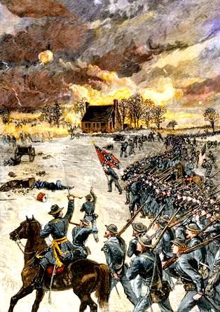 Ataque del general Stonewall Jackson en la batalla de Chancellorsville, Virginia, 2 de mayo de 1863;