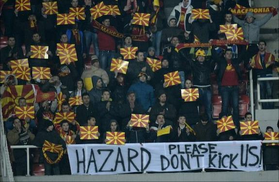 Macedonia fans ask Eden Hazard not to kick them