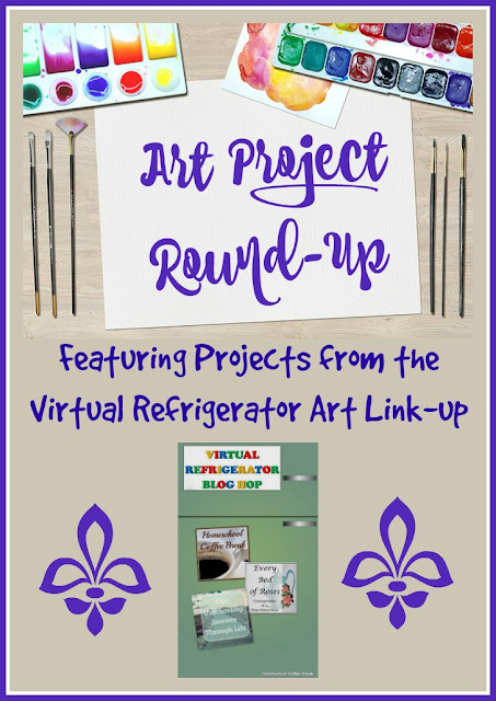 Art Project Round-up (featuring Projects from the Virtual Refrigerator Art Link-up) on Homeschool Coffee Break @ kympossibleblog.blogspot.com