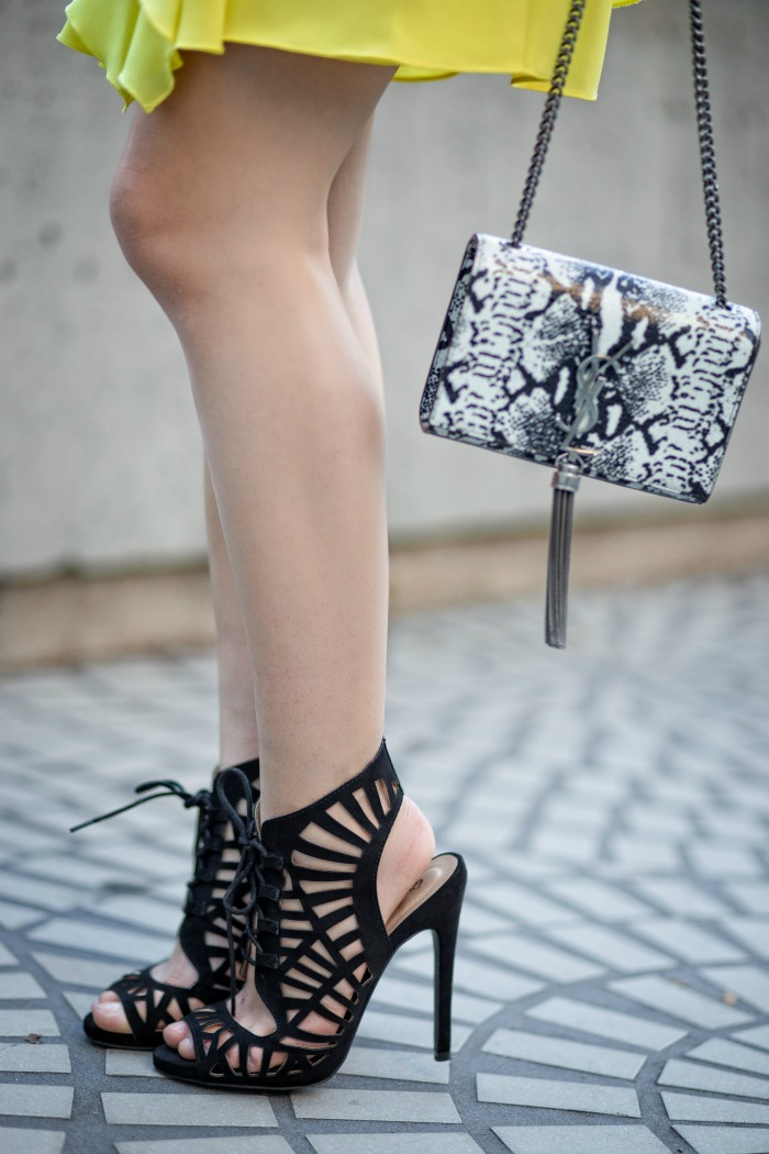 stylish black lace up heels