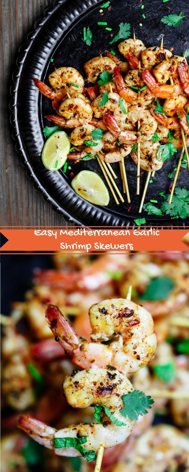 Easy Mediterranean Garlic Shrimp Skewers