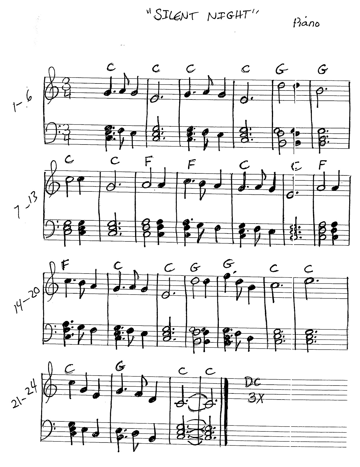 Miss Jacobson S Music Silent Night Music Worksheets