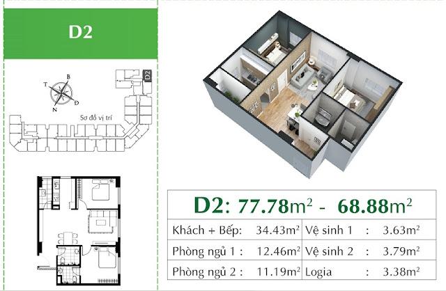 Thiết kế căn D2 chung cư Eco City Việt Hưng