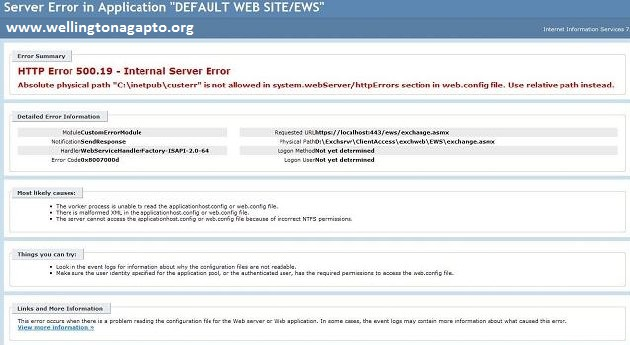 500.19 - Internal Server Error ao executar um Test-OutlookWebServices