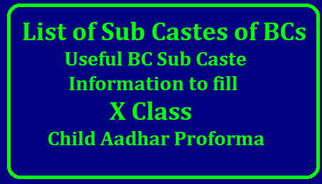 Useful BC Sub caste Information to fill X Class Child Aadhar Proforma: Here is the list of Sub Castes of BCs /2018/10/list-of-sub-castes-of-bcs-useful-bc-sub-caste-information-to-fill-10th-class-aadhar-proforma.html: