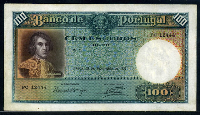 Portuguese 100 money currency Escudos banknote João Pinto Ribeiro