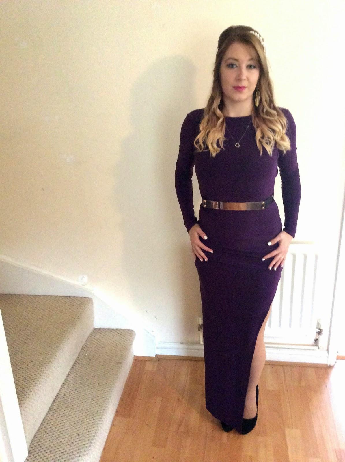 Boohoo Casey Scoop Back Belted Dress in purple